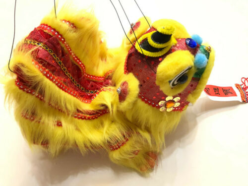 CHINESE NEW YEAR YELLOW PUPPET LION DRAGON HEAD DANCE HANGING
