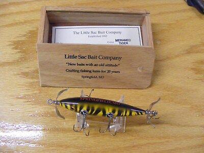 Little Sac Bait Co Meramec Minnow Glasseye Lure in Tiger Stripe in Wood Box