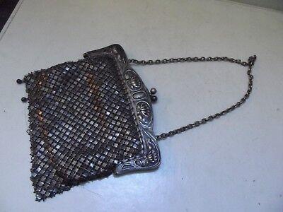 (o98) Jugendstil kleine Tasche Handtasche Kettentasche Metall versilbert