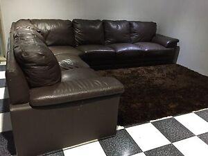 Chocolate brown leather Modular Lounge set Plumpton Blacktown Area Preview