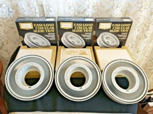 3 VINTAGE SEARS EASI-LOAD CIRCULAR SLIDE TRAY #39985 HOLDS 100 SLIDES CAROUSEL