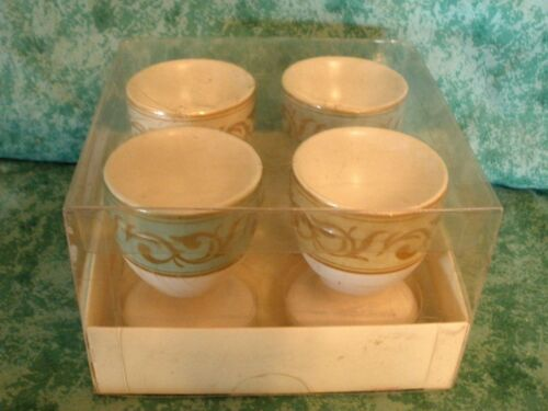 POTTERY BARN FLORAL EGG CUPS~SET OF 4~ PASTEL COLORS~NEW!!
