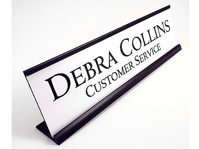 Desk Name Plate White With Black Color Aluminum Holder 2x8 Personalized
