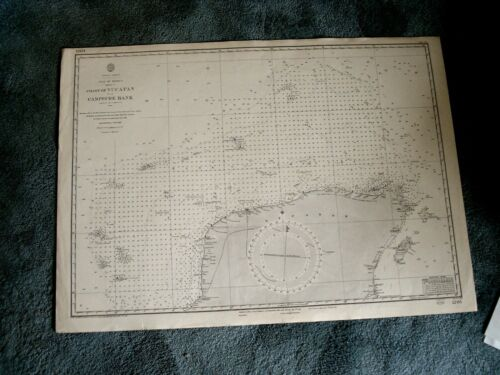 Vintage Admiralty Chart 1205 COAST OF YUCATAN & CAMPECHE BANK 1915 edn