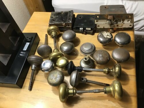 Lot of Antique Mortise Key Locks and Vintage Brass Door Knobs and Spindles