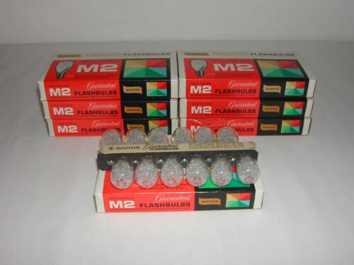 New Vintage Wards M2 flashbulbs NOS 7 boxes of 12 clear bulbs 84 bulbs total