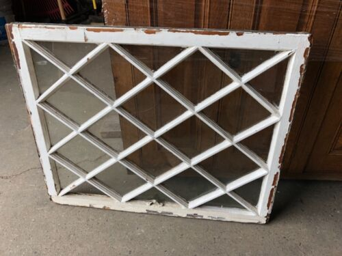 "c1890/1900 mission Tudor style diamond pane window frame sash 34"" x 27"" x 1.5"""