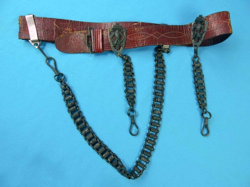 Antique Old Ames Masonic Fraternal Leather Belt w/ Sword Hangers