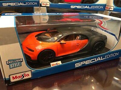 Exclusive   Maisto 1 18 Scale Diecast Model Car   Bugatti Chiron  Orange Gray