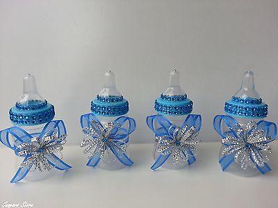 12 Blue Fillable Bottles Baby Shower Little Prince Favors Prizes - Little Prince Baby Shower Decorations