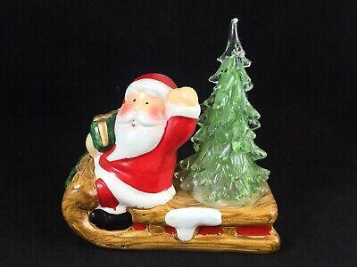"""Christmas Figurine Ceramic Figurine Santa Sleigh Sled Light Up Plastic Tree 4"""""""
