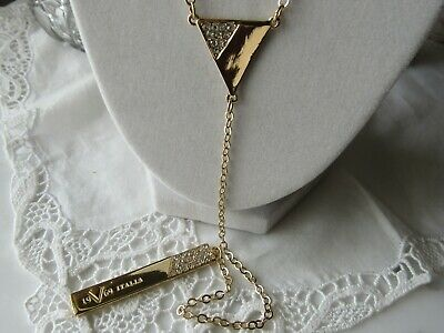 Versace 1969 Y Shape Drop Tag Gold Tone Necklace with Tags