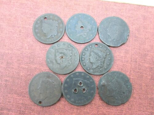 8 Coins Various Dates Cull Large Cents 1817-1827 Q2GB