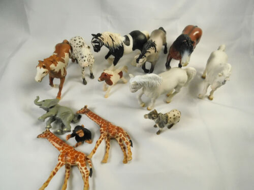 Lot of 9 Schleich German Horses + 4 Zoo Animals