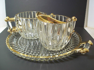 Jeannette Glass NATIONAL sugar creamer & tray gold rim 3 pce set glass