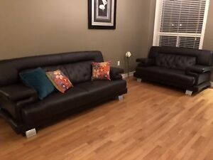 Leather blend couch, sofa and chair