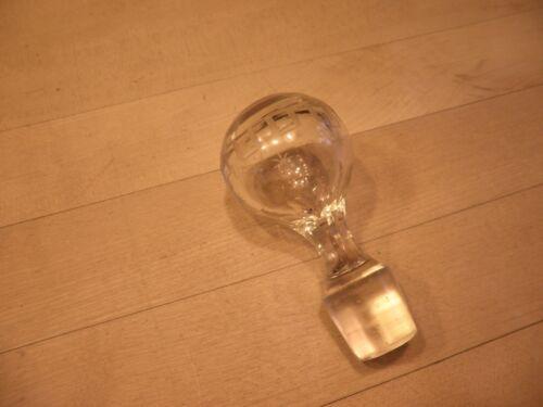 Vintage  Blown Glass Bottle Stopper Decanter Stopper Etched