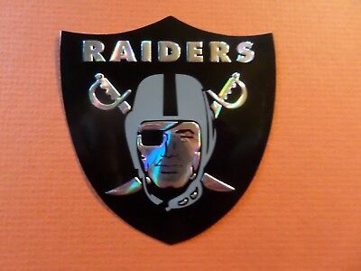 Oakland Raiders Chrome Refractor Embossed Aluminum Sticker Decal Raider Nation