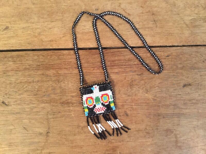 Beaded Native American Crow Indian Medicine Bag Necklace Leather Thunderbird