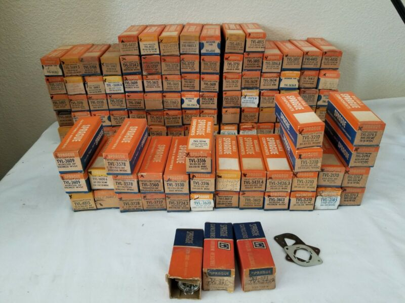 HUGE Lot of NOS Vintage Sprague Twist Lok Capacitor Cannisters Various Condition