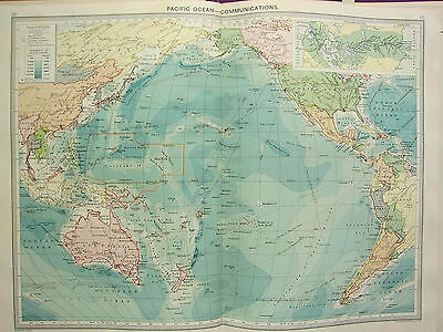 1920 LARGE MAP ~ PACIFIC OCEAN COMMUNICATIONS STEAMER ROUTES CABLES WIRELESS