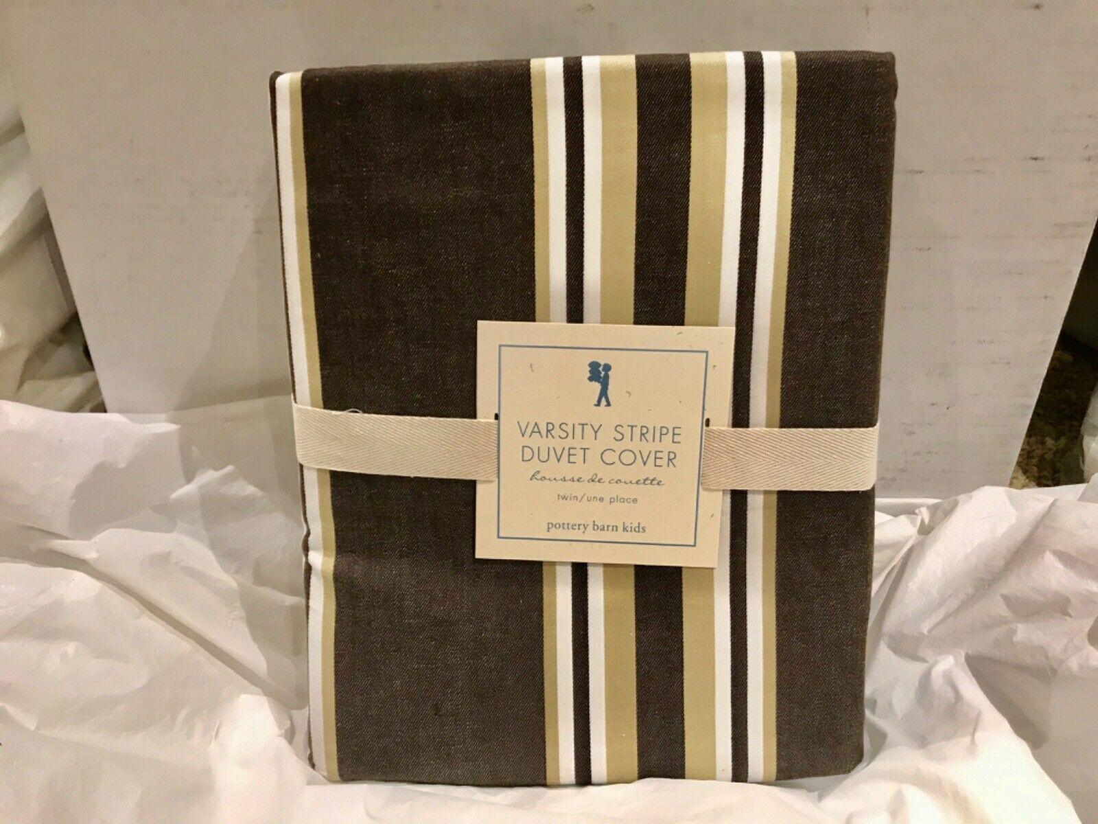 Pottery Barn Kids 100 Cotton Varsity Stripe Twin Duvet-Brown/Gold - $29.95
