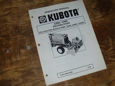 Kubota G2500 G2505 Snow Blower For Tractor G5200h Operator Maintenance Manual