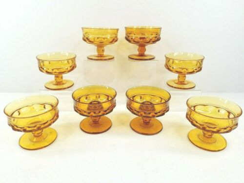 Indiana Colony Glass Amber Kings Crown (6) Footed Sherbet Cup (2) Candle Holders