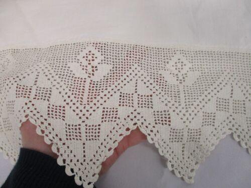"ANTIQUE WHITE LINEN BED SHEET with HAND CROCHET FLOWER TOP EDGE 85"" X 100"" FLAT"