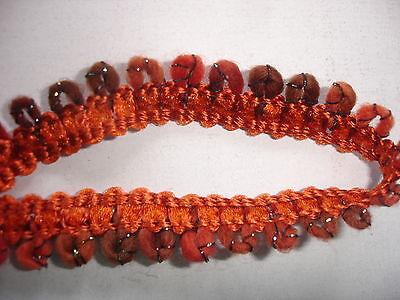 5 m Wollborte 0,45€/m  1,4cm breit  orangebraun bunt  DF140