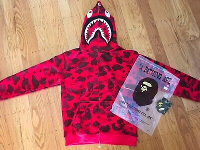 Authentic Bape/A Bathing Ape Red Camo Shark Hoodie/Jacket Size Medium  OFFER UP!