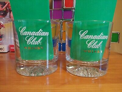 Canadian Club Whisky Rock Glasses with Starburst Bottom Glass 50 and (Canadian Club Glasses)