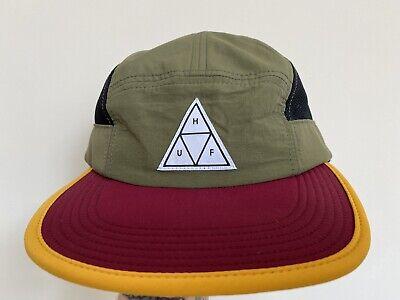 Huf Triple Triangle Khaki Red Mesh Sides 5 panel cap Strapback