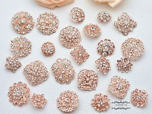 24 Rose Gold Rhinestone Brooch Lot Mixed Pin Wholesale Crystal Wedding Bouquet