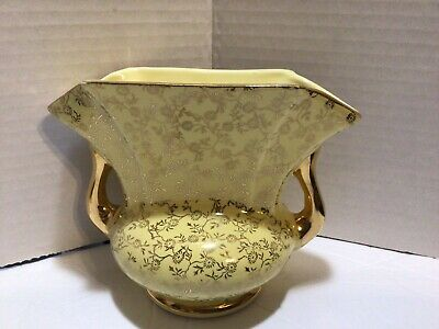 Vintage Green Planter Trimmed with 22K Gold  Mid-Century Planter  Gilded with Gold