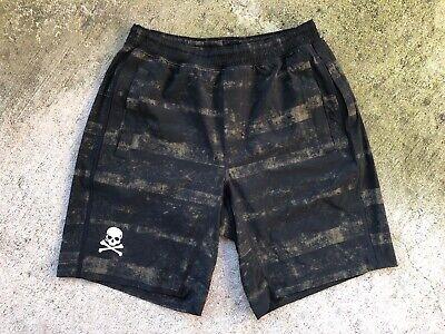 "Lululemon X Soulcycle Men's Pace Breaker Shorts Medium Green Black Camo 9"" Liner"
