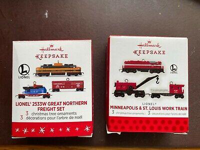 Hallmark Lionel Ornaments - M & SL Work Train & 2533W Great Northern Freight Set