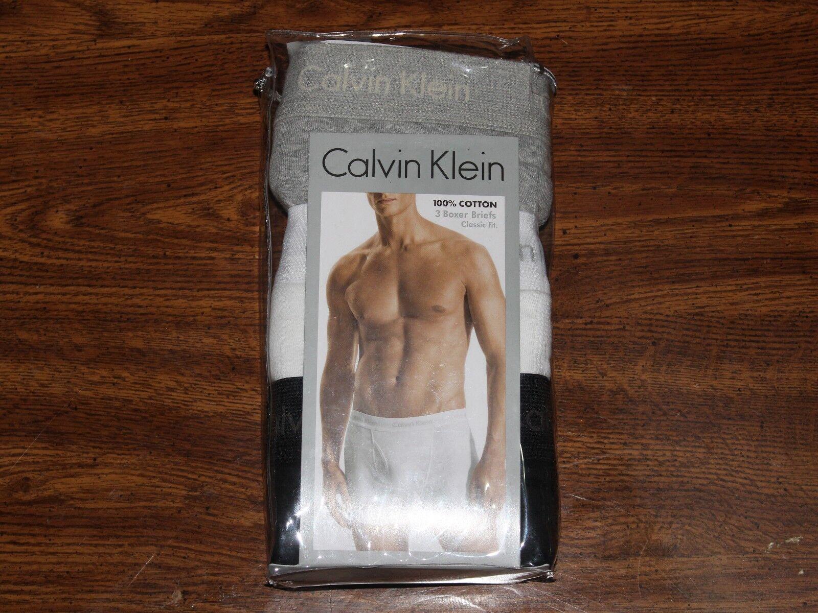 New Calvin Klein 3 Pack Gray / Black / White  Cotton Boxer B