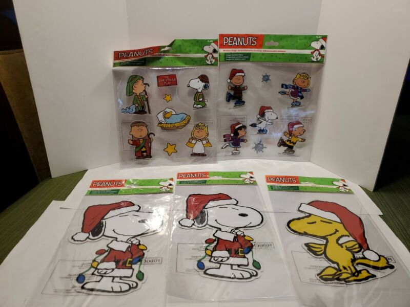 Lot of 5 Peanuts Christmas Window Clings Snoopy & Woodstock Charlie Brown Lucy