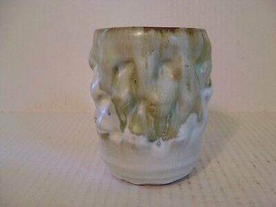 GREEN AND WHITE UNUSUAL KNOBBY EXTERIOR AND INTERIOR STUDIO CRAFTED POTTERY JAR