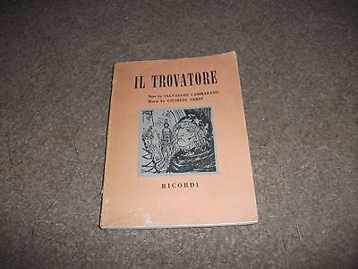 VINTAGE 1959 FIRST EDITION  IL TROVATORE  OPERA IN FOUR ACTS P/BACK 70 PAGES