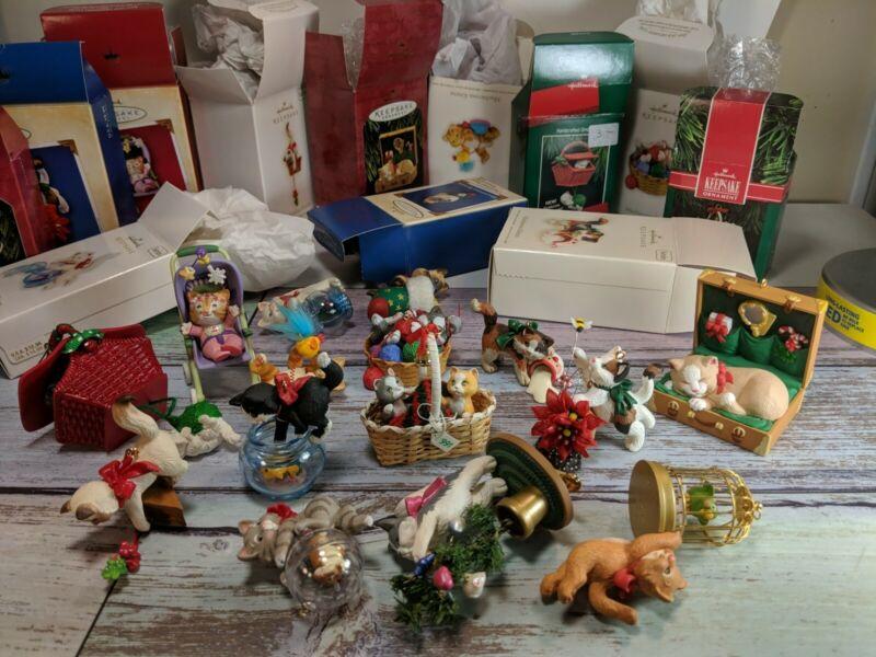 Lot of 15 Hallmark keepsake kitten cat ornaments mischievous kittens christmas