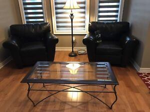 Coffee Table (Glass Top with Wrought Iron Legs)