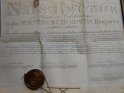 Doktordiplom Jura Adam DANNINGER Csonoplya 1886 Budapest  Lechner Balogh Wagner