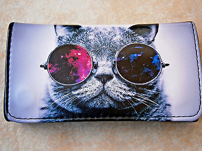 CUTE CAT JOHN LENON GLASSES ROLLING TOBACCO WALLET POUCH CASE PURSE KITTY HOUSE - Lenon Glasses