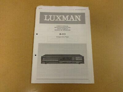 OWNER'S MANUAL / BEDIENUNGSANLEITUNG / MODE D'EMPLOI LUXMAN D-111 CD PLAYER