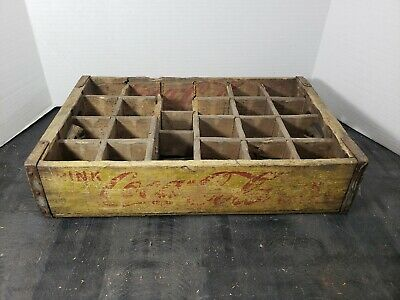 Vintage Coca-Cola Wooden Coke Yellow Soda Pop Crate Carrier Box case wood (12)