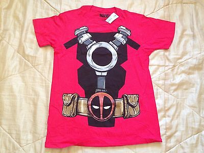 Marvel Deadpool Red Costume Cosplay Body Suit Vintage Classic Comic T Shirt