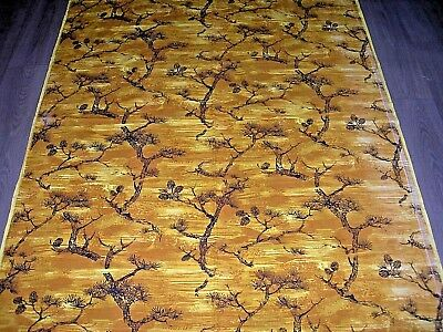 Vintage 50s 60s yellow mustard black burnt wood / desert cotton fabric length