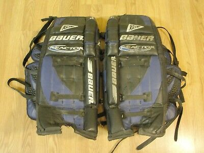 "(Bauer Reactor C3 Goalie Leg Pads 29"" Ice or Street Black Blue)"